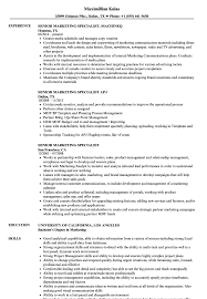Senior Marketing Specialist Resume Samples Velvet Jobs