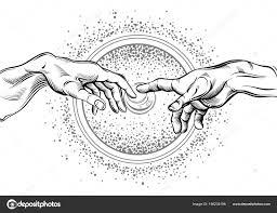 Bůh Adams Ruce Moderní Vektorové Ilustrace Stvoření Adama Filosofie