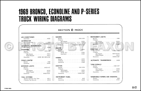 1969 ford bronco econoline and p series wiring diagrams table of contents page