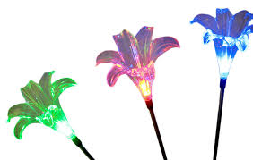 solar lily flower garden stake color change light set of 2 additional image 5