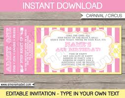 Invitation Ticket Template Carnival Birthday Ticket Invitations Template Carnival Circus 7