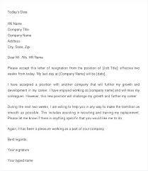 2 Week Notice Letter For Work 2 Week Notice Email Template 2 Week Notice Letter Leaving