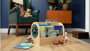 book box natural teal wood clock