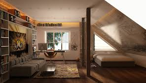 Lush Small Space Attic Loft Bedroom With Built In Bookcase As Well As  Modern Laptop Office Table Added Rectangle Single Bed On Wood Floors As  Guys Bedroom ...