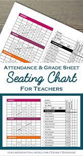 Teacher Grade Sheet Template Classroom Seating Chart Attendance Grade Sheet Behavior Tracking