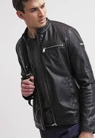 guess biker faux leather jacket jet black men clothing jackets