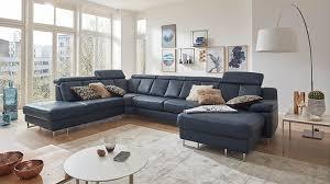Interliving Sofa Serie 4050 Wohnlandschaft Nachtblaues Longlife Leder Cloudy Nightblue Chromfüße Stellfläche Ca 2