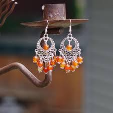 carnelian earrings chandelier earrings sunset colours ora