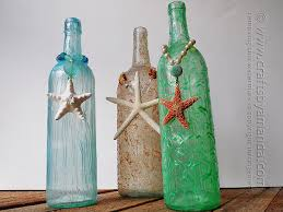 Decorating Empty Wine Bottles Wine Bottle Crafts textured beach wine bottles 16