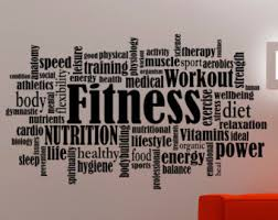 Fitness Wall Decal Gym Stickers Gym Words Sports Wall Art Gym Decoration  Sports Room Vinyl Art