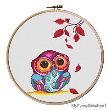 Owl Cross Stitch Pattern New Owl Cross Stitch Pattern Autumn Owl Pattern Cute Owl Etsy