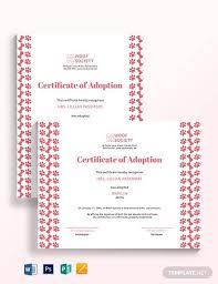 Pet Adoption Certificate Template 26 Sample Adoption Certificates In Illustrator Indesign