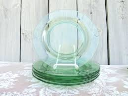 green glass plates image 0 with cup holder