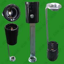 e14 ses lamp holder with stem chandelier light bulb socket black 100mm x 23mm