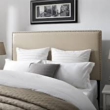 beige upholstered headboard. Unique Upholstered Bring A Modern Twist To Your Traditional Bedroom With The Emerson  Upholstered Full  Queen Headboard Exquistely Upholstered In Beige Faux Leather Fabric  On Beige Headboard W