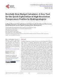 Quick Budget Tool Pdf Borehole Heat Budget Calculator A New Tool For The