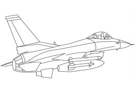Tô màu máy bay phản lực chiến đấu - Trang Tô Màu Cho Bé