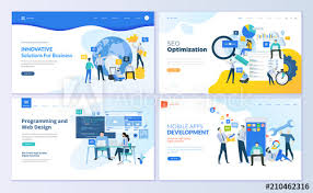 Page Design Templates Set Of Web Page Design Templates For Seo Mobile Apps