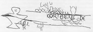 detail of dighton rock drawn by e b delabarre 1919