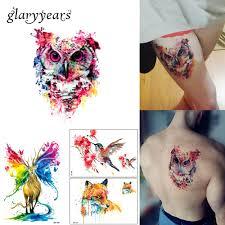 1 List Barevné Kreslení Dočasné Tetování ženy Muži Body Art Catoon