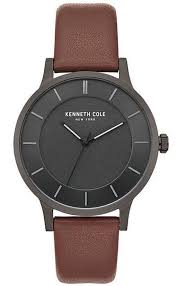 men s kenneth cole new york classic brown leather strap watch kc50195001 loading zoom
