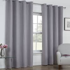 linen look textured thermal blackout ring top curtains silver grey