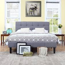Classic Deluxe Grey Linen Low Profile Platform Bed Frame with Tufted Headboard Design [Cal King]