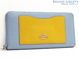 Coach COACH cross-grain leather colorblock accordion zip wallet large zip  around wallet blue   yellow leather 53678