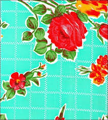round freckled sage oilcloth tablecloth in rose and grid aqua you pick the size