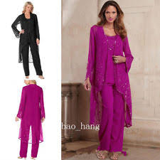 dressy pant suits for weddings. chiffon pants suit mother of bride 3 pieces pant jacket plus size formal outfits dressy suits for weddings