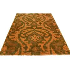 4 x6 2 hand knotted orange cast ikat overdyed pure wool oriental rug sh35816