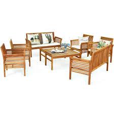 gymax 8pcs wooden patio conversation