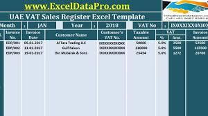 Download Uae Vat Sales Register Excel Template Exceldatapro