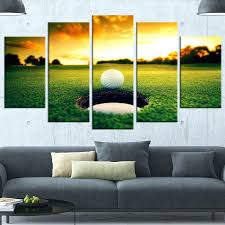 golf wall art ball near hole 5 piece photographic print on wrapped canvas set outdoor metal on golf wall art near me with golf wall art ball near hole 5 piece photographic print on wrapped