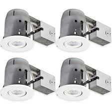 5 in white recessed swivel spot light kit 4 pack