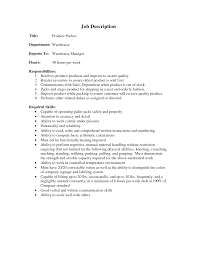 26 Warehouse Job Description Resume Sample Examples Of Resumes