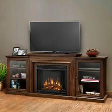 real flame frederick entertainment 72 in media console electric fireplace tv stand in chestnut oak