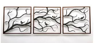 Metal Wall Art Trees Birch Three Framed Cute Birds Black Branch Connected  All Artwork Square Sculptures Home Decor Unique Modern