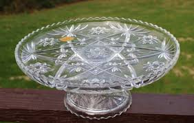 vintage anchor hocking prescut clear footed glass cake plate stand