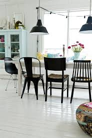 mixed chairs for dinning room set like thst they are all black black chairs against white perhaps to mix with plain wood