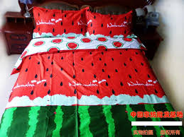 Red green watermelon bedding set king size queen quilt duvet cover ... & Red green watermelon bedding set king size queen quilt duvet cover bed in a  bag sheets bedspreads bedsheets bedroom 100% cotton-in Bedding Sets from  Home ... Adamdwight.com