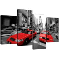 display gallery item 5 4 part set of living room red canvas pictures display gallery item 6 on wall art black white and red with new york canvas prints in black white red for living room