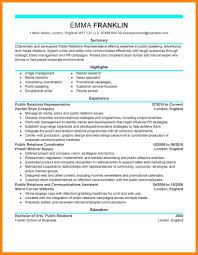 Public Relations Resume Sample 100 pr resume examples emails sample 35