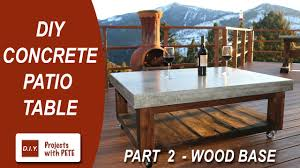 how to make a concrete coffee table for the patio wood base you