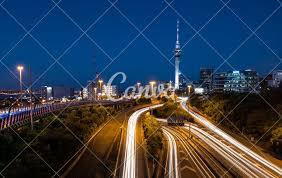 Night Light Auckland Auckland City Lights Aucklands Night Traffic After Dusk