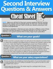 Questions For Second Interview Second Interview Cheat Sheet Pdf Second Interview Questions 8l