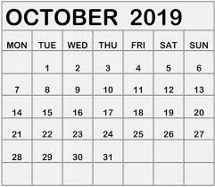 October 2019 Calendar Printable Free Monthly Template Free
