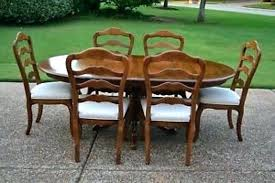 ethan allen round dining table room chairs used delphi review set