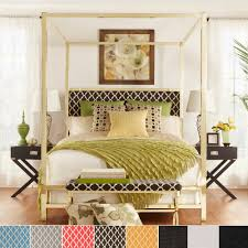 Inspire Q Solivita King Sized Canopy Gold Metal Poster Bed Tufted By