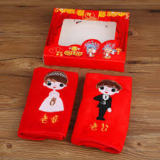 get ations house red makeup wedding celebration supplies favor married couple husband wife red towel face towel towel